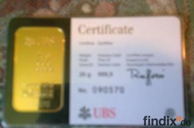 1 Goldbarren 20 Gramm schwer mit Zertifikat