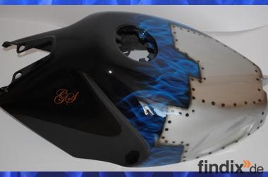 Airbrush Motorrad! Tank Design Blechplatten-Flame!