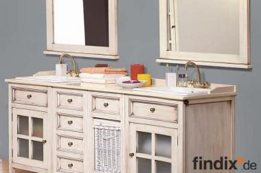 Waschtischunterschrank antik  Antik Weißer Doppelwaschtisch im Landhausdesign - 826846