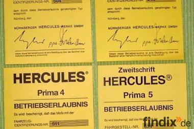 Betriebserlaubnis ABE Hercules Prima 2/ 3/ 4/ 5/ GT/ MX1, blanko