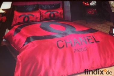 Chanel Bettwäsche Rot Satin 6 teilig