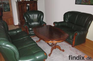 Couch, Couchgarnitur Leder, 3-, 2- Sitzer + Sessel & Couchtisch