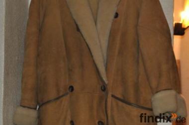 Damenmantel Leder und 100% Lamm Größe 42