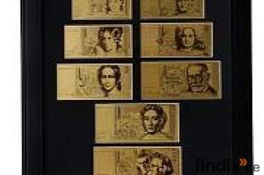 Deutsche Mark-GeldscheineSet aus 24K Gold