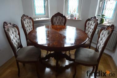 Eleganter Esstisch + 6 Stühle