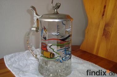 Glaskrug, Krug aus Glas mit Anglerbild und Silberdeckel