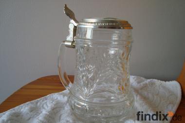 Glaskrug mit silbernem Deckel, Gravur Dieter auf Deckel, Krug