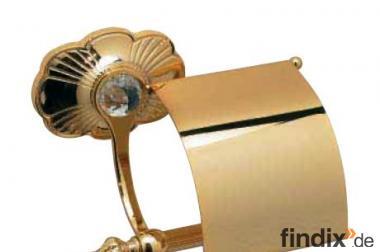 Goldfarbener Toilettenpapierhalter mit Strass-Kristall