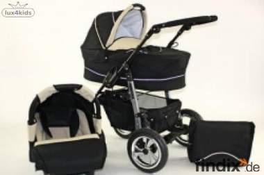 Kinderwagen Babywanne und Sportwagenaufsatz beides Schwarz/Beige