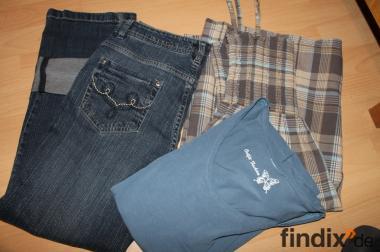 Kleid (Tunika), 7/8 Jeans u. T- Shirt Gr. 36