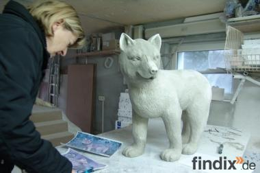 Kleine Deko Wölfe als Garten Deko