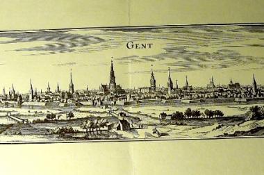 Kupferstich alt Gent 60x21 (GR02)