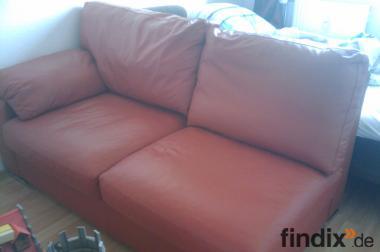 Ledercouch 2-Sitzer dunkles orange-rot