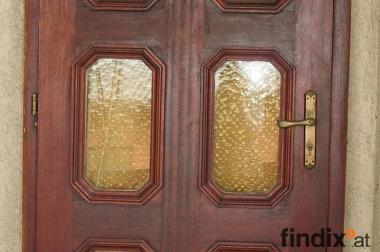 Mahagoni Vollholz Eingangstüre mit Türstock