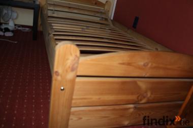 MASSIVES Natur Holz BETT geölt 1.00 x 2.00 incl. Lattenrost