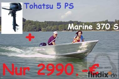 Megalodon Marine 370  +  5PS Motor Neu Aluminiumboot  Aluboot BF