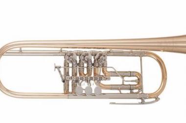 Meister J. Scherzer 8211 Konzert-Trompete mit Neusilberkranz, Neu