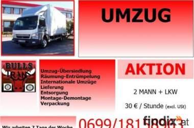 Möbeltransport Aktion 2 Mann + LKW 25€/h