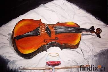 Öl auf Leinwand - Violine und Glass