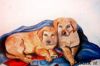 Öl auf Leinwand - Zwei Hunde