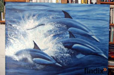 """Ölbild """"Delfine"""" Grösse 90 cm x 120 cm,"""