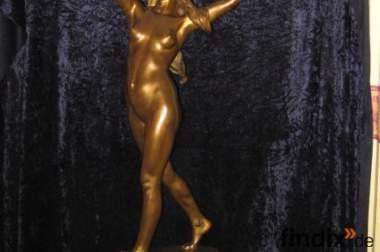 """Original Bronzefigur """"Schwerttänzerin"""" von Adolf Brütt."""