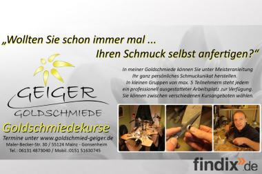 Schmuckworkshop, Goldschmiedekurse in der Geiger Goldschmiede