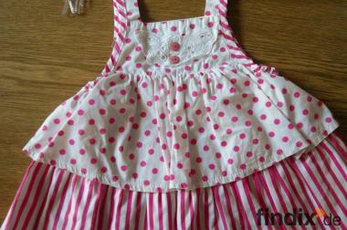 Sommer-Kleid Punkte/Streifen Pink/Weiß Gr.74