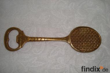 Tennisschläger, Flaschenöffner aus Messing,