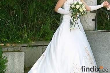 UNIKAT-Brautkleid 34/36 in Ivory mit Goldstickerei und Zubehör