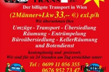 Wien und  Österreichweit 2Männer+Lkw ab €33,--exkl. p/h