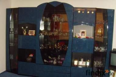 Wohnwand + Tisch in blau schwarz Hochglanz italienisches design