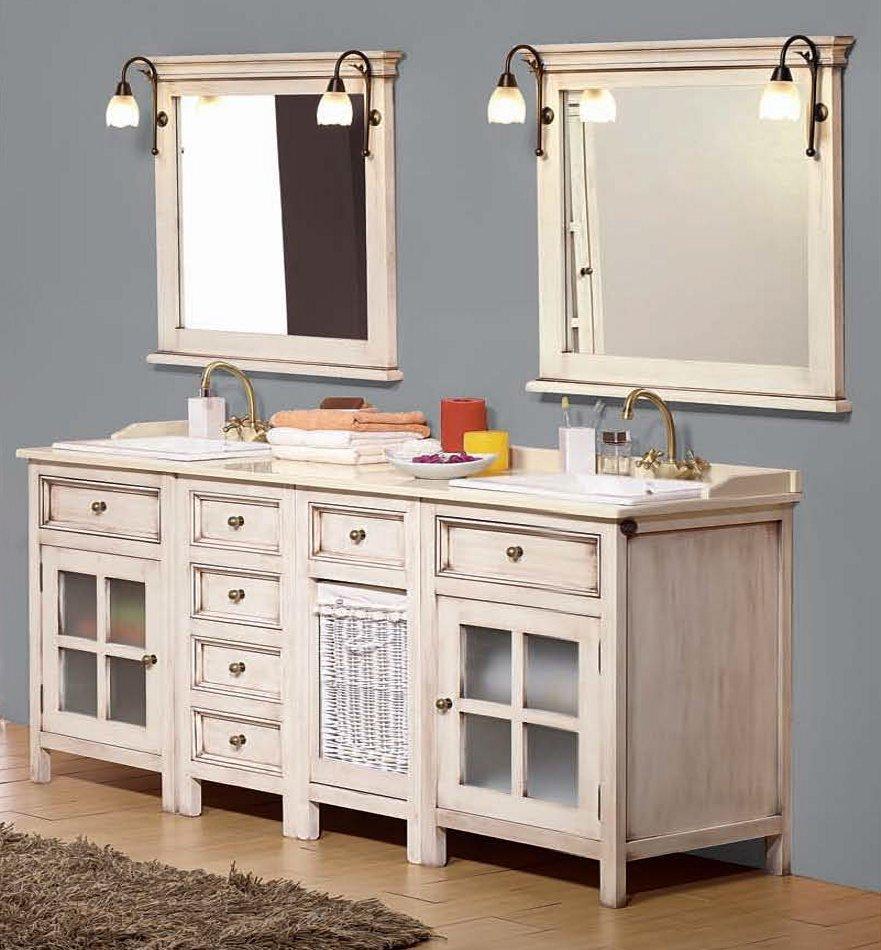 antik wei er doppelwaschtisch im landhausdesign 826846. Black Bedroom Furniture Sets. Home Design Ideas