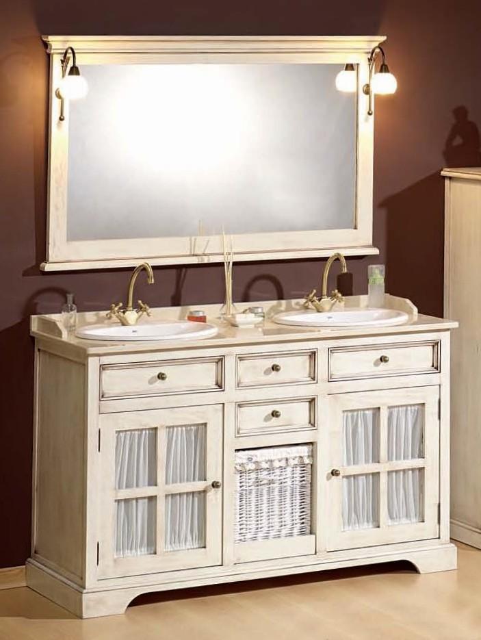 Waschtischunterschrank weiß landhaus  Antik Weißer Doppelwaschtisch im Landhausstil mit Vitrine - 833328