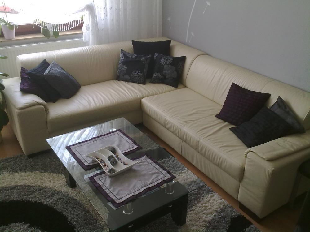 echtleder wohnlandschaft mit bettfunktion 466586. Black Bedroom Furniture Sets. Home Design Ideas