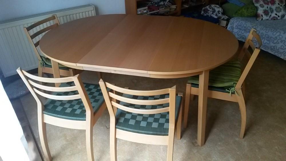 Grosser Runder Tisch Ausziehbar Plus 4 Stuhle 920902