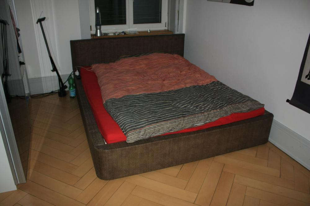 IKEA-Rattanbett, inkl. Lattenrost & Matratze - 490480