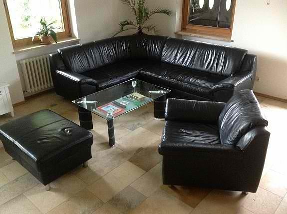 ledersofa garnitur mit glastisch 841513. Black Bedroom Furniture Sets. Home Design Ideas