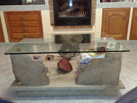 Mesa de piedra natural marmol y cristal barato en eivissa - Mesas de piedra para exterior ...