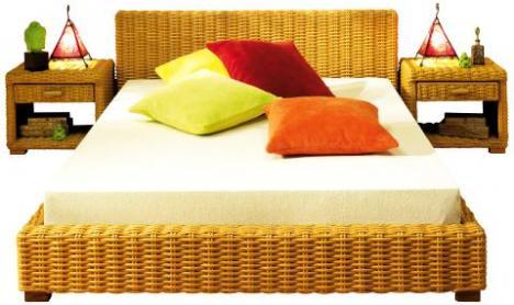 rattanbett 1 40 x 2 00 m 54992. Black Bedroom Furniture Sets. Home Design Ideas
