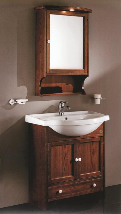 schmales badmöbel 75 cm mit spiegelschrank - 211324, Hause ideen