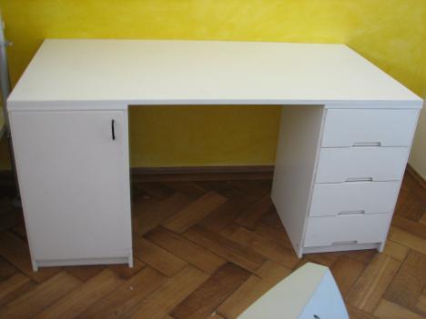 Schreibtisch 150x80x74cm, weiß Stuhl GRATIS! - 7346