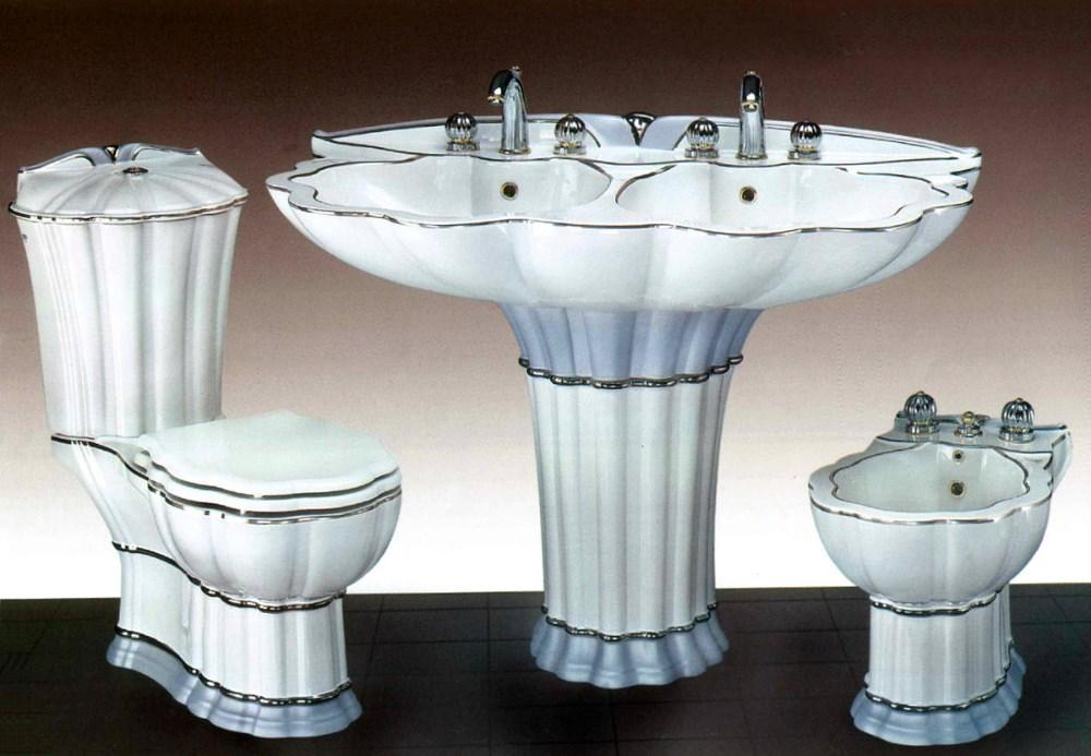 Weiß U2013 Blaues Badezimmerset Aus Keramik Mit Doppelwaschbecken   853851